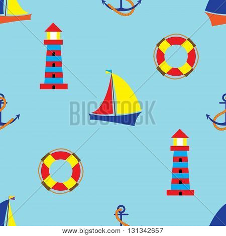 Bright seamless pattern with sea elements in doodle style. Sailboat lighthouse anchor Buoy.