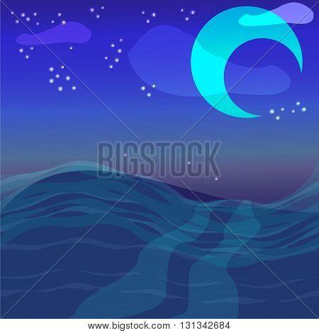 night sky with ocean moon & stars vector background
