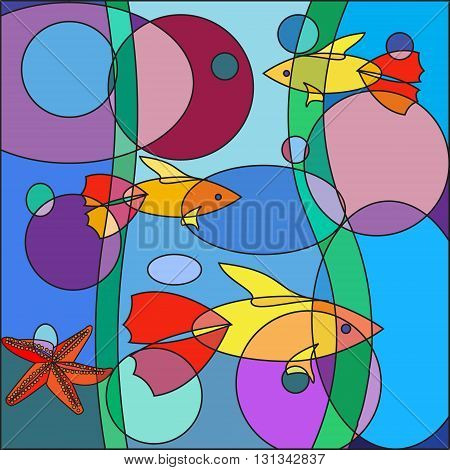 Beautiful multicolored Doodle fish on abstract sea background in the form of a colorful mosaic