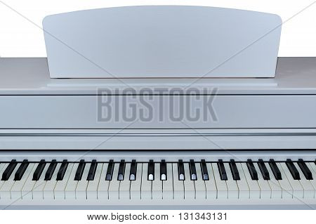 Digital Electric piano musical instrument closeup on white background