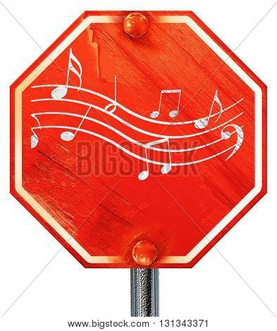 Music note background, 3D rendering, a red stop sign