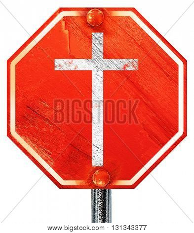 Christian cross icon, 3D rendering, a red stop sign