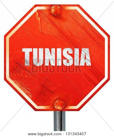 Greetings from tunisia, 3D rendering, a red stop sign