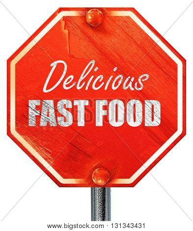 Delicious fast food, 3D rendering, a red stop sign