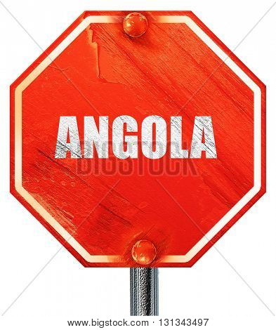 Angola, 3D rendering, a red stop sign