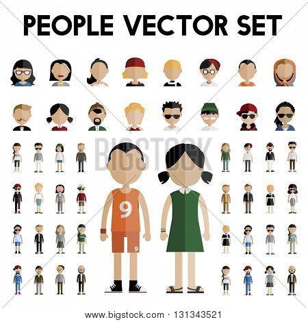 Diversity Community People Flat Design Icons