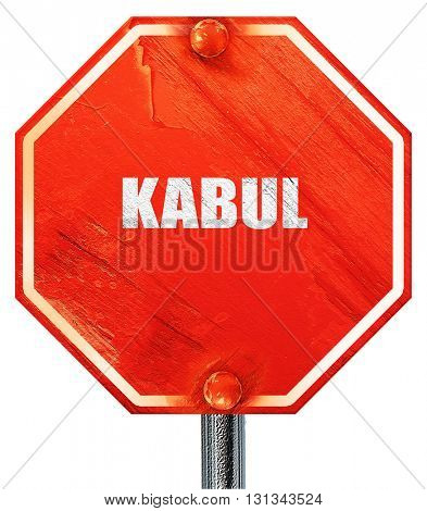 kabul, 3D rendering, a red stop sign