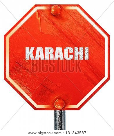 karachi, 3D rendering, a red stop sign