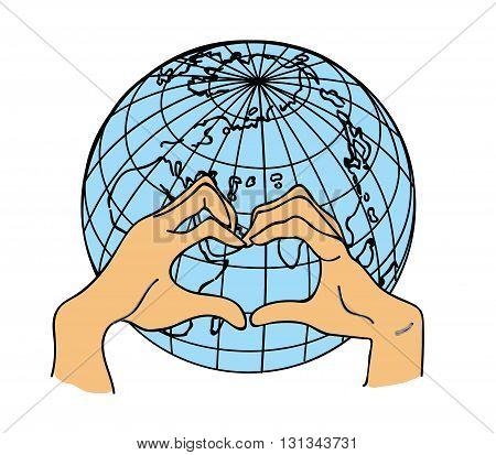 hands in a heart shape on a globe