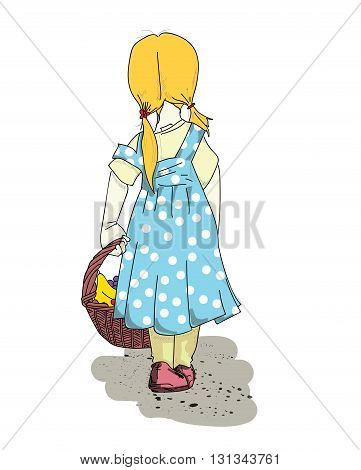 Girl and basket with healthy food. vector illustration