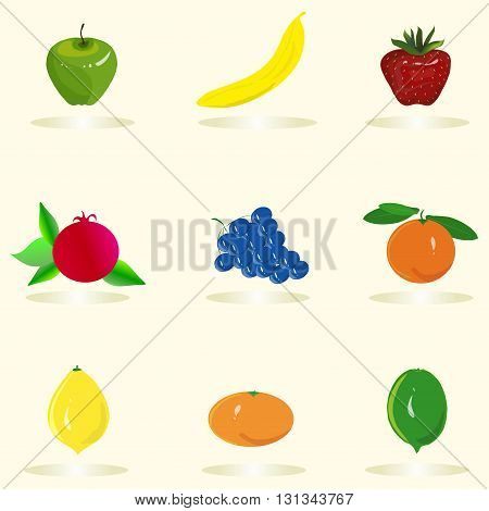 Fruit set. Green apple, yellow banana, red strawberry, yellow lemon, blue grapes, orange, tangerine, pomegranate on a light pink background, hand drawing, vector
