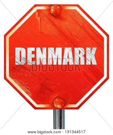 denmark, 3D rendering, a red stop sign