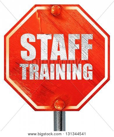 staff training, 3D rendering, a red stop sign