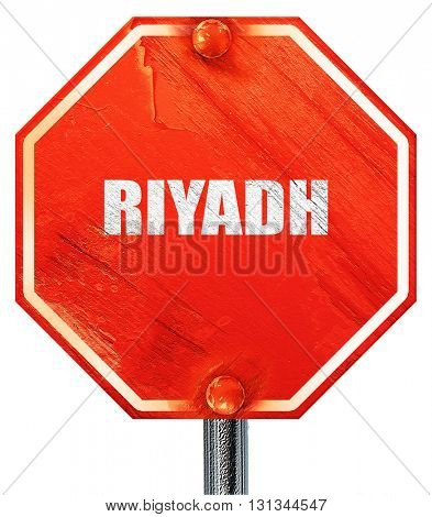riyadh, 3D rendering, a red stop sign
