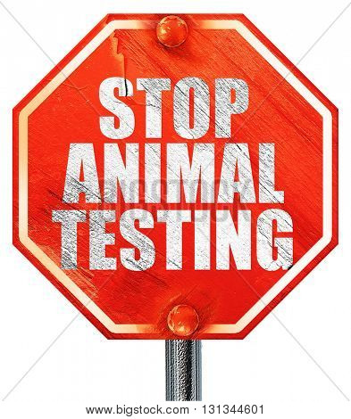 stop animal testing, 3D rendering, a red stop sign