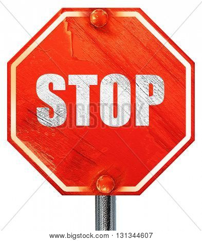 stop, 3D rendering, a red stop sign
