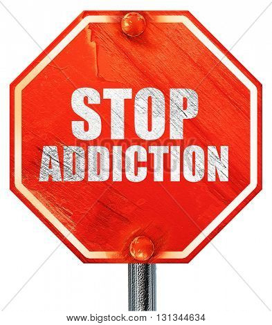 stop addiction, 3D rendering, a red stop sign