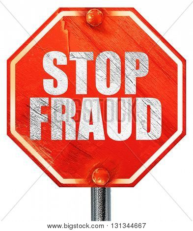 stop fraud, 3D rendering, a red stop sign