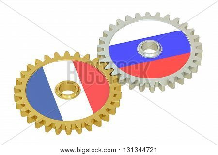 Russia and France relations concept flags on a gears. 3D rendering isolated on white background