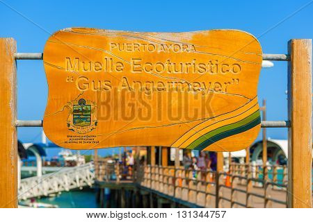 Puerto Ayora Galapagos Ecuador - April 1 2016: Ecoturism sign at the pier in Puerto Ayora on Santa Cruz Island in Galapagos
