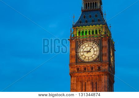 Close up Big Ben at twilight, London, UK