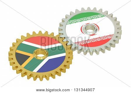 UAE and Iran flags on a gears 3D rendering isolated on white background