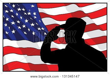 Veterans Day. the soldier on a background of the American flag. vector illustration