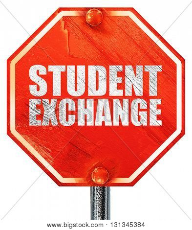 student exchange, 3D rendering, a red stop sign