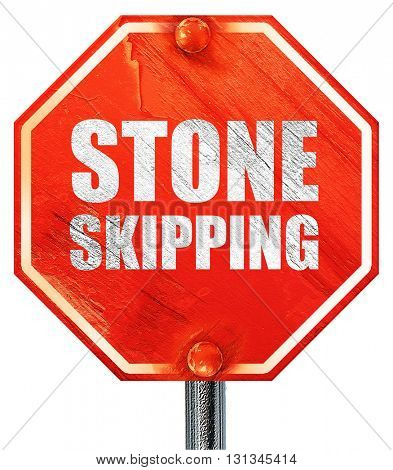 stone skipping, 3D rendering, a red stop sign