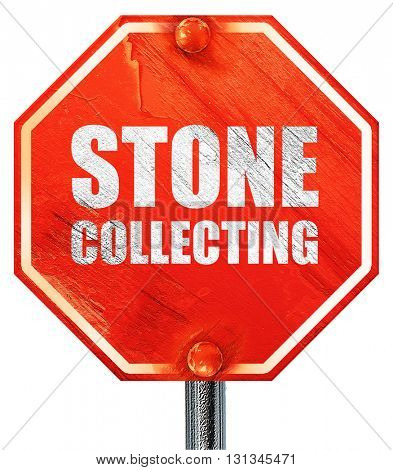 stone collecting, 3D rendering, a red stop sign