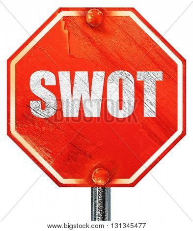 swot, 3D rendering, a red stop sign