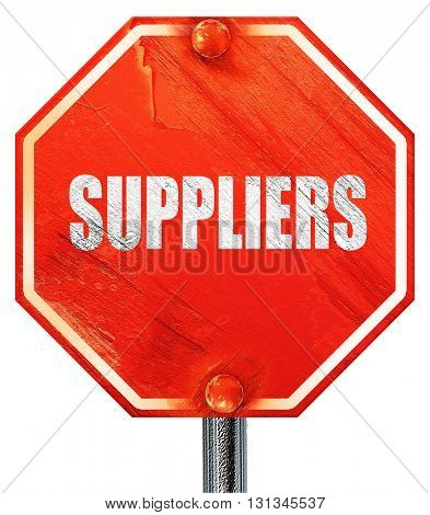 suppliers, 3D rendering, a red stop sign