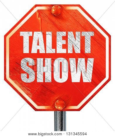 talent show, 3D rendering, a red stop sign