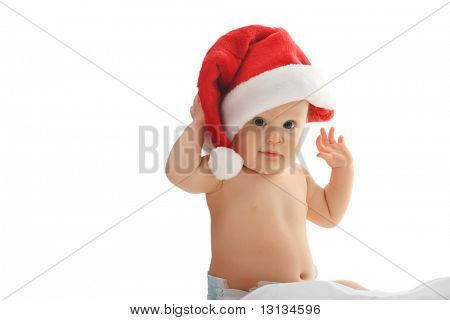 Christmas baby in a red hat