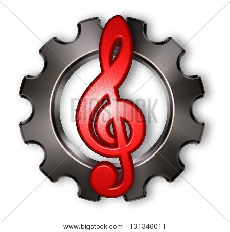 gear wheel and clef on white background - 3d rendering