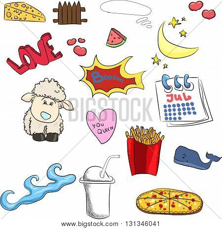 Big set of cute stickers sheep, heart, boom, fries, Chinese, coffee, month, watermelon, calendar