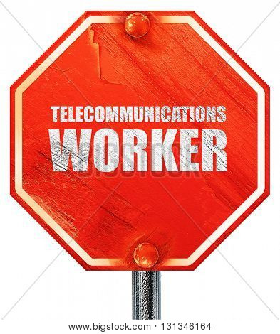 telecommunications, 3D rendering, a red stop sign