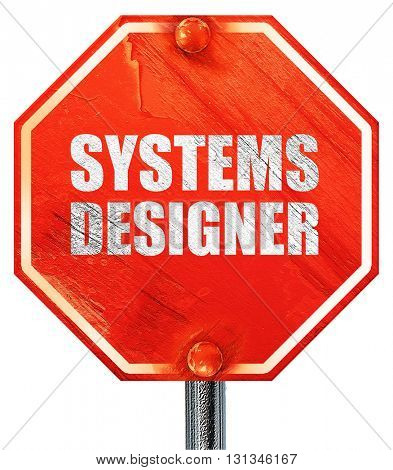 systems designer, 3D rendering, a red stop sign
