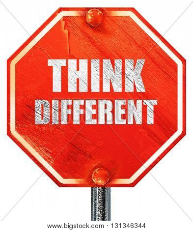 think different, 3D rendering, a red stop sign