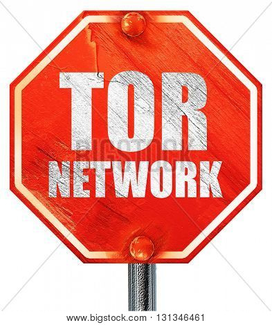 tor network, 3D rendering, a red stop sign