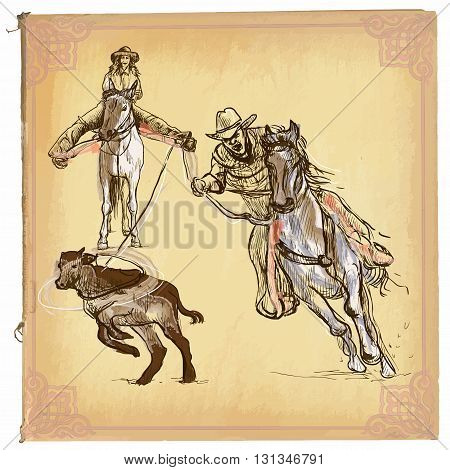 An hand drawn vector illustration colored line art. RODEO. Freehand sketch of an cowboy on horse catches to lasso a calf behind him on horseback is cowgirl. Hand drawings are editable in groups.