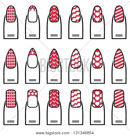 Female manicure  gel & hybrid  including shapes like almond, square, rounded nails with plain nail polish, French manicure, zig zag elements, waves,  decorative dots, hearts diagonal lines in color
