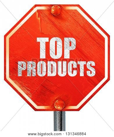 top products, 3D rendering, a red stop sign