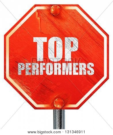 top performers, 3D rendering, a red stop sign
