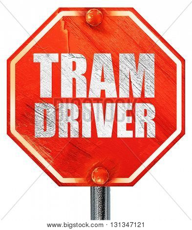 tram driver, 3D rendering, a red stop sign