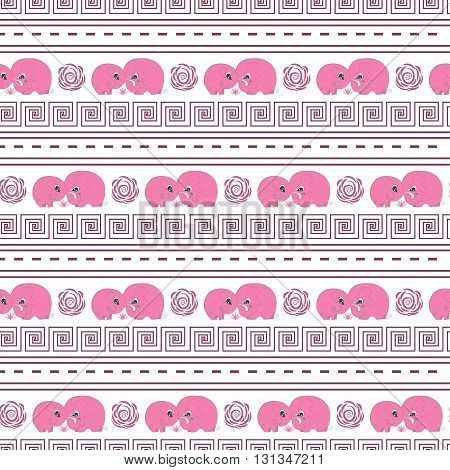 Cute horizontal seamless pattern with cartoon pink elefants made in vector. Design for children textile, wallpapers, packaging. Vector illustration for childrens day, june 1, birthday