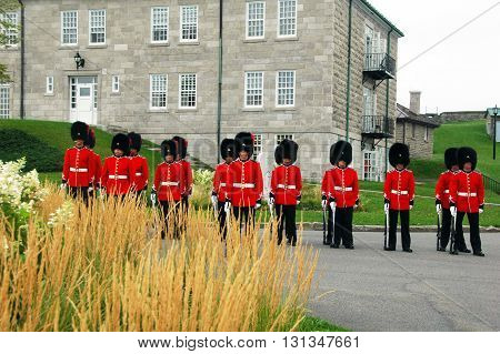 Quebec city,Canada-August 24th 2013: picture of a group of guards taken during the daily Changing of the Guards ceremony.