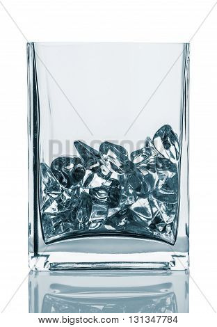 Empty glass with ice cubes. Painted image isolated on the white background.