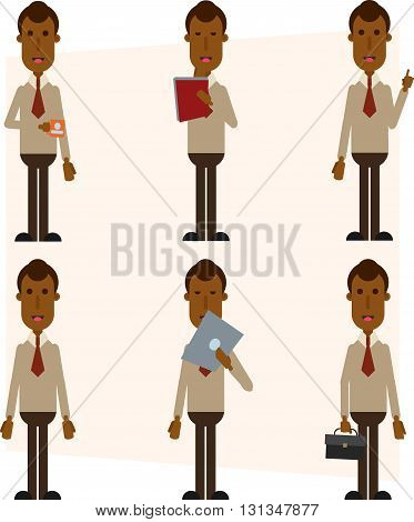 6 item African American businessman, businessman set