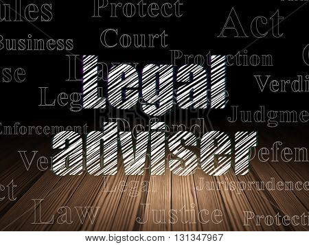 Law concept: Glowing text Legal Adviser in grunge dark room with Wooden Floor, black background with  Tag Cloud